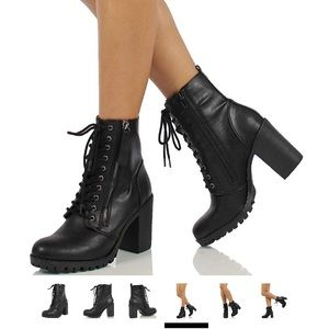 High heeled lace-up combat booties